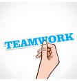 teamwork word in hand vector image vector image