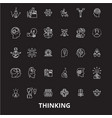 thinking editable line icons set on black vector image vector image