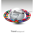 Travel background Globe with a plane and a strip vector image vector image