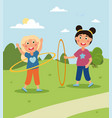 two little cute girls are wirling colored huha vector image