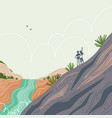 two people hiking mountain exploring fantastic vector image