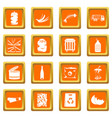waste and garbage icons set orange vector image vector image