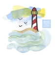 Watercolor print with lighthouse on the white vector image vector image