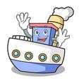 waving ship character cartoon style vector image vector image