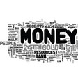 where does money come from text word cloud concept vector image vector image