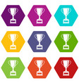 winning gold cup icon set color hexahedron vector image vector image
