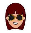 young woman cartoon with sunglasses vector image vector image