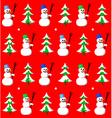 Snowman and fir seamless pattern vector image