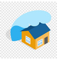 big wave of tsunami over the house isometric icon vector image