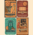 basketball sport court players balls and basket vector image vector image