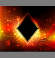 black rhombus on a fire background vector image