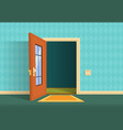 cartoon open door apartment hallway entrance vector image vector image