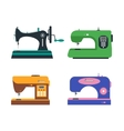 Color Sewing Machine Set Retro and Modern vector image vector image
