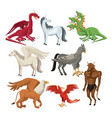 colorful set animal greek mythological creatures vector image vector image