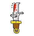 comic cartoon frightened knife vector image vector image