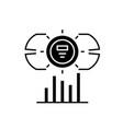 dashboard metrics black icon sign on vector image vector image