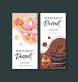 dessert flyer design with chocolate cake macarons vector image vector image