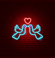 dove couple neon sign vector image vector image