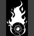 eyeball on fire - a cartoon vector image