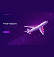 hello vacation travel concept plane taking off vector image