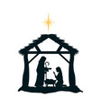 holy family silhouette in stable christmas vector image vector image