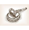 Judges wooden gavel hand drawn sketch vector image vector image
