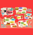 kids meal menu vector image