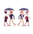 lady and gentleman walking together under umbrella vector image vector image