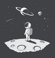 little astronaut looks to universe at the planet