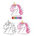 magic unicorn head classic collection vector image vector image