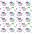 magic unicorns in clouds seamless pattern for vector image vector image