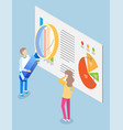 man and woman look at statistics chart on board vector image