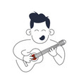 music man holds guitar and song concept vector image