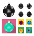 new year toys black flat icons in set collection vector image