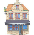 old house with a chocolate shop vector image vector image