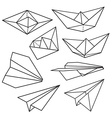 Origami ship pattern vector image