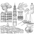 portugal drawings set vector image vector image