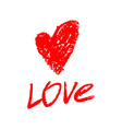Red painted heart Inscription Love vector image