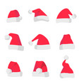 red santa claus hats isolated on colorful vector image vector image