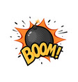 round black bomb with burning fuse drawn in retro vector image