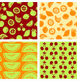 seamless patterns - hand drawn fruits vector image vector image