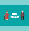 senior people keeping distance for infection risk vector image
