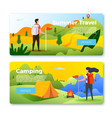 set banner templates with people hiking vector image