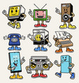set gadget and electronic character mascot vector image