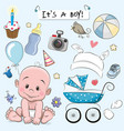 set of baby design elements vector image