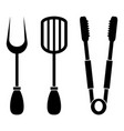set of black barbecue tools icons on white vector image
