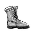 trekking boots vintage label hiking shoe hand vector image