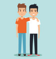 two boys hugging best friends happy smiling vector image