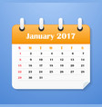 usa calendar for january 2017 vector image vector image