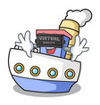 virtual reality ship mascot cartoon style vector image